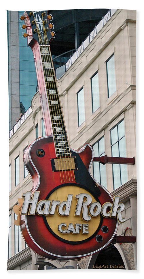 Guitar Beach Towel featuring the digital art Gibson Les Paul Of The Hard Rock Cafe by DigiArt Diaries by Vicky B Fuller