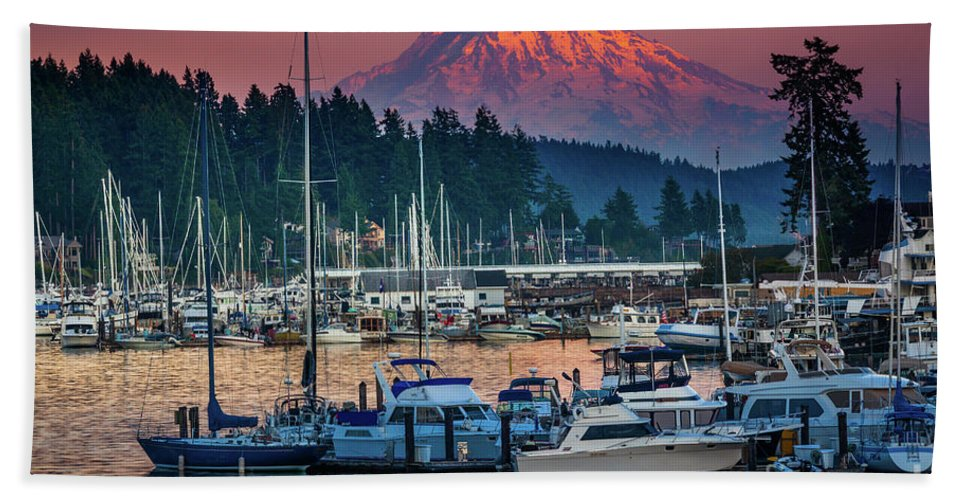 America Beach Towel featuring the photograph Gig Harbor Dusk by Inge Johnsson