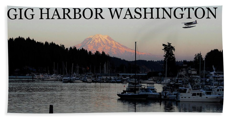 Gig Harbor Washington Beach Towel featuring the photograph Gig Harbor fly in by David Lee Thompson