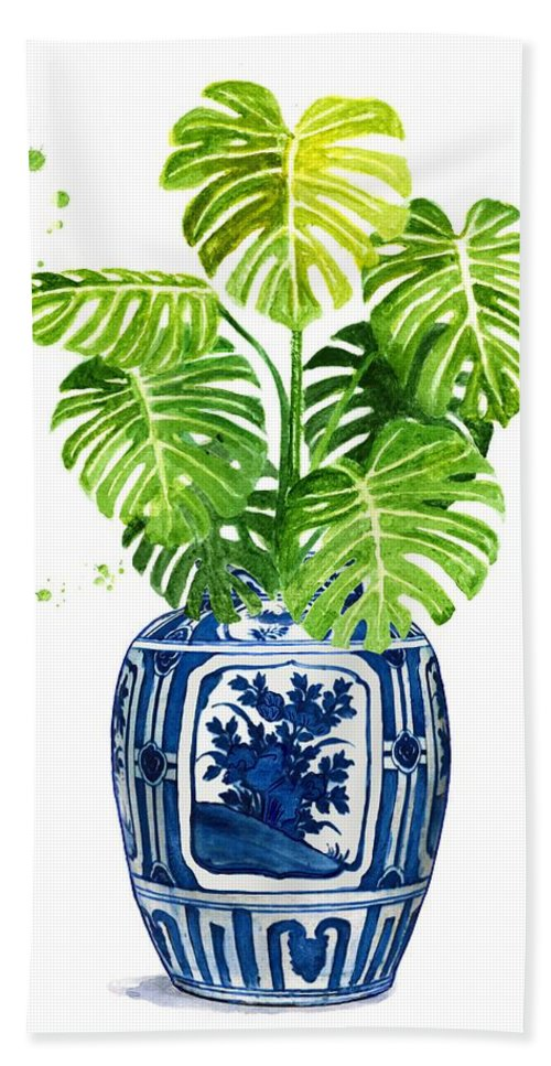Cobalt Blue Beach Towel featuring the painting Ginger Jar Vase 1 With Monstera by Green Palace