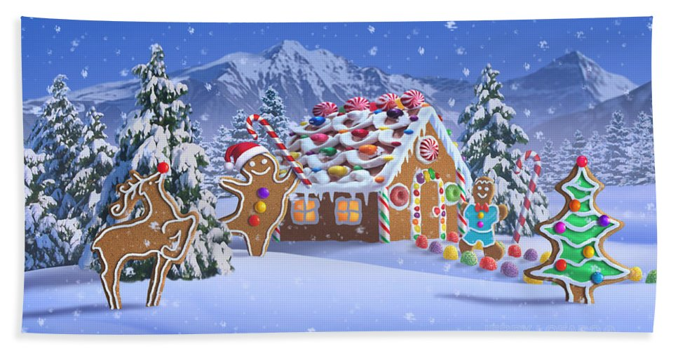 Christmas Beach Towel featuring the digital art Gingerbread House by Jerry LoFaro
