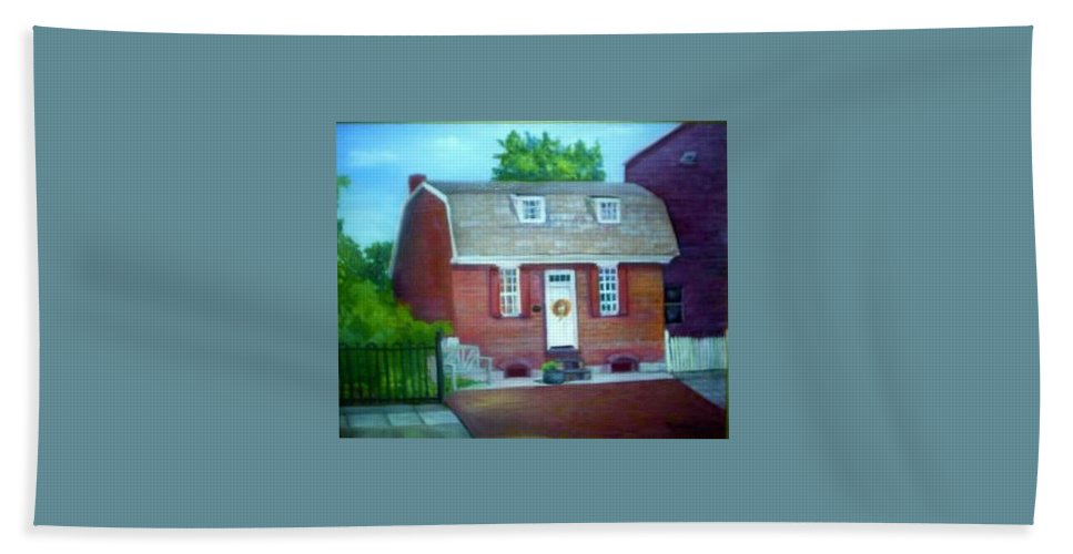 Revell House Beach Towel featuring the painting Gingerbread House by Sheila Mashaw