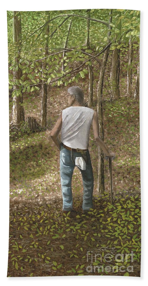 Woods Beach Sheet featuring the painting Ginseng Hunting by Donnis Crowe