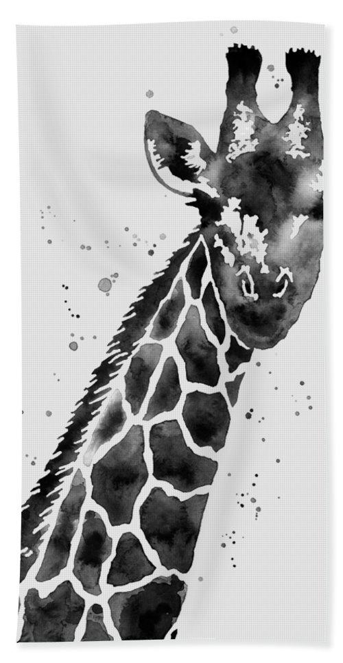 Giraffe Beach Towel featuring the painting Giraffe in Black and White by Hailey E Herrera
