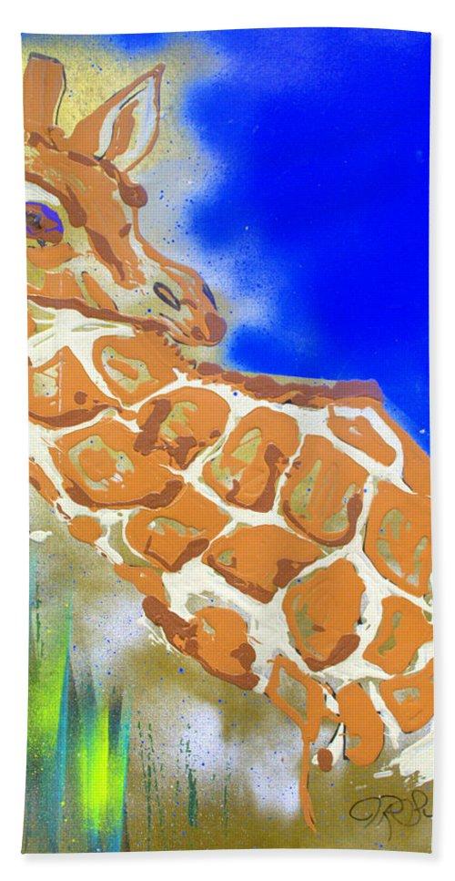 Giraffe Beach Sheet featuring the painting Giraffe by J R Seymour