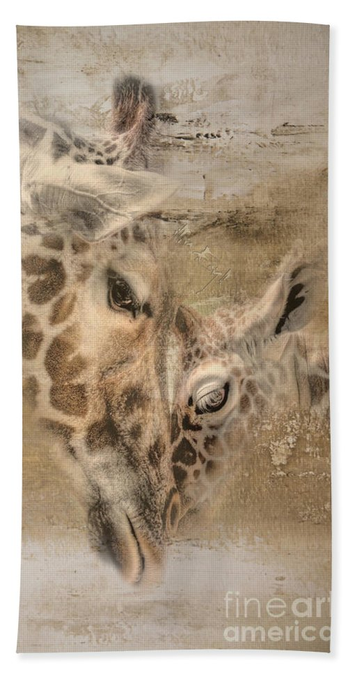 Imia Design Beach Towel featuring the digital art Giraffes, Big And Small by Maria Astedt