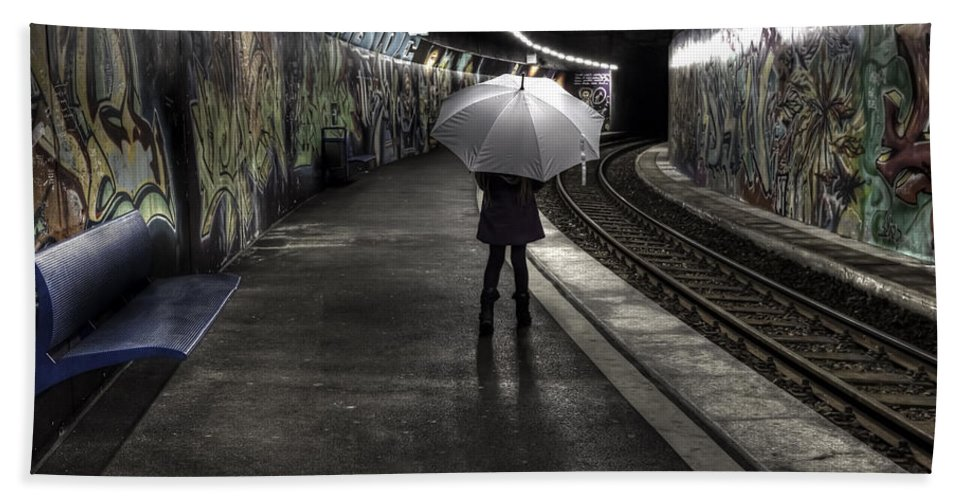 Girl Beach Towel featuring the photograph Girl At Subway Station by Joana Kruse
