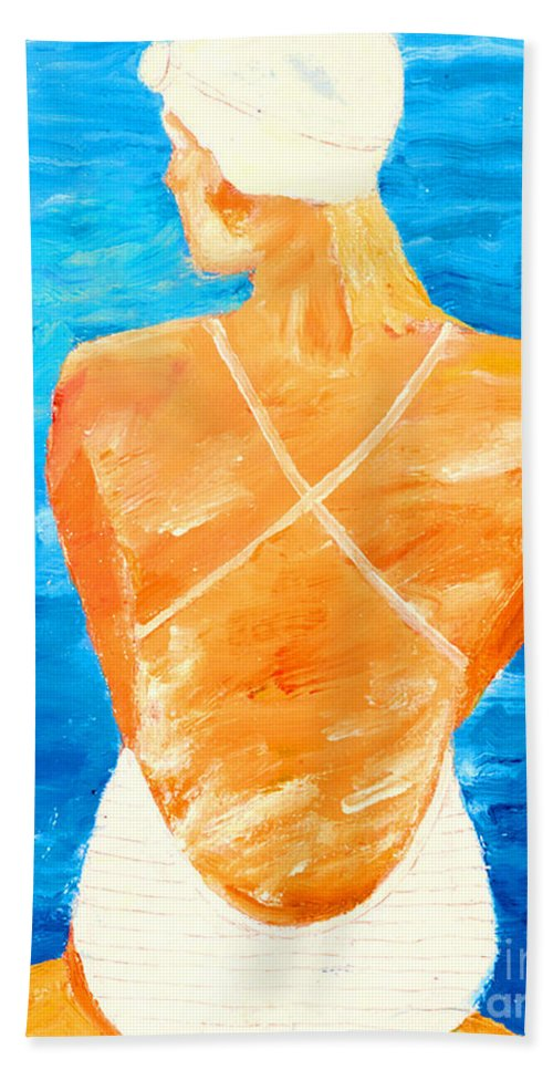 Figures Beach Towel featuring the painting Girl At The Pool by Lisa Baack