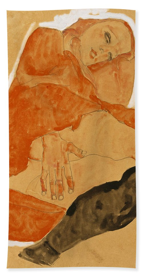 Egon Schiele Beach Towel featuring the drawing Girl In Red Robe And Black Stockings by Egon Schiele