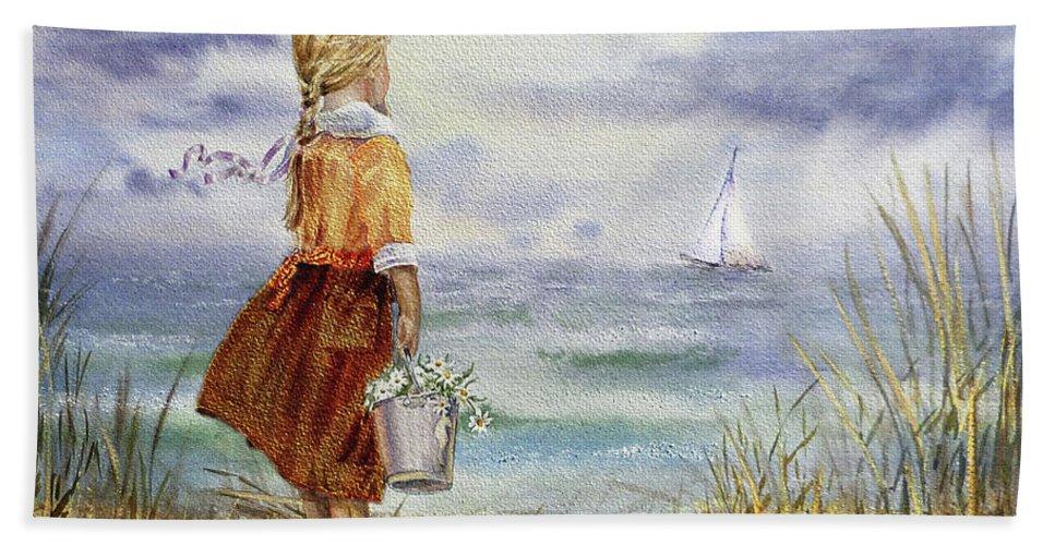 Girl Beach Towel featuring the painting Girl Ocean Shore Birds And Seashell by Irina Sztukowski