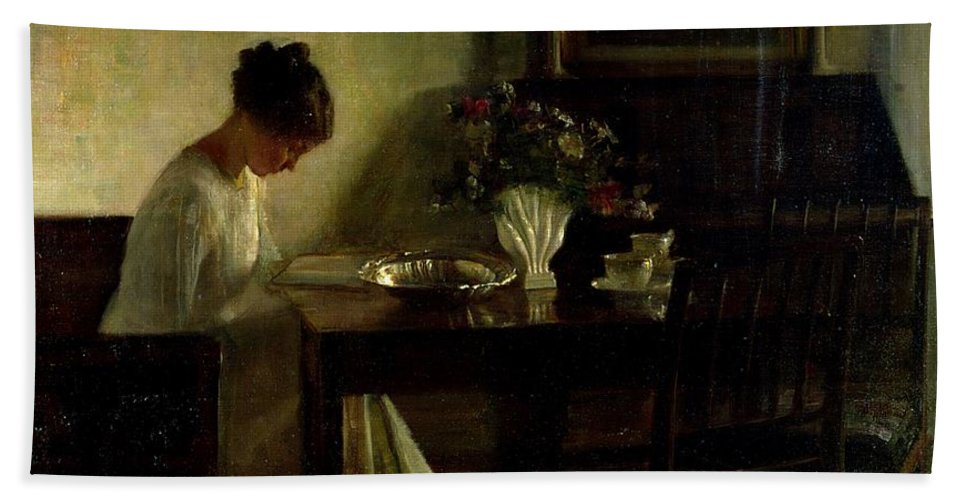 Girl Beach Towel featuring the painting Girl Reading In An Interior by Carl Holsoe