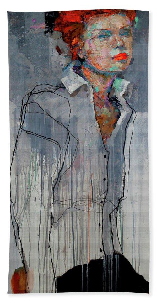 Girl Beach Towel featuring the painting Girl - Spring by Viktor Sheleg