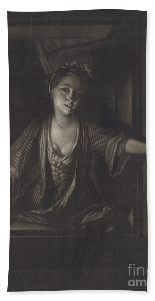 Beach Towel featuring the photograph Girl With A Candle by John Greenwood After Nicolaas Verkolje