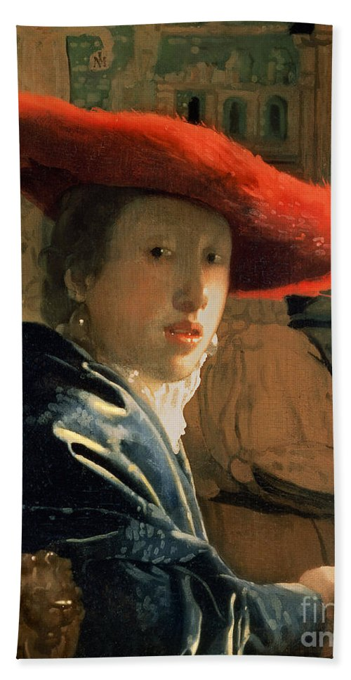 Vermeer Beach Towel featuring the painting Girl With A Red Hat by Jan Vermeer