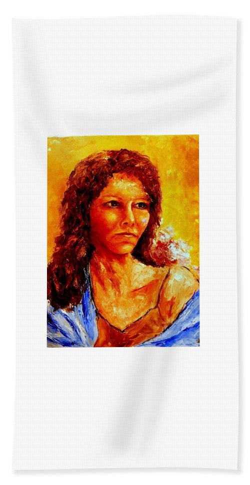 Woman Beach Towel featuring the painting Girl With Blue Shawl by Shuly Haimsohn Weiner