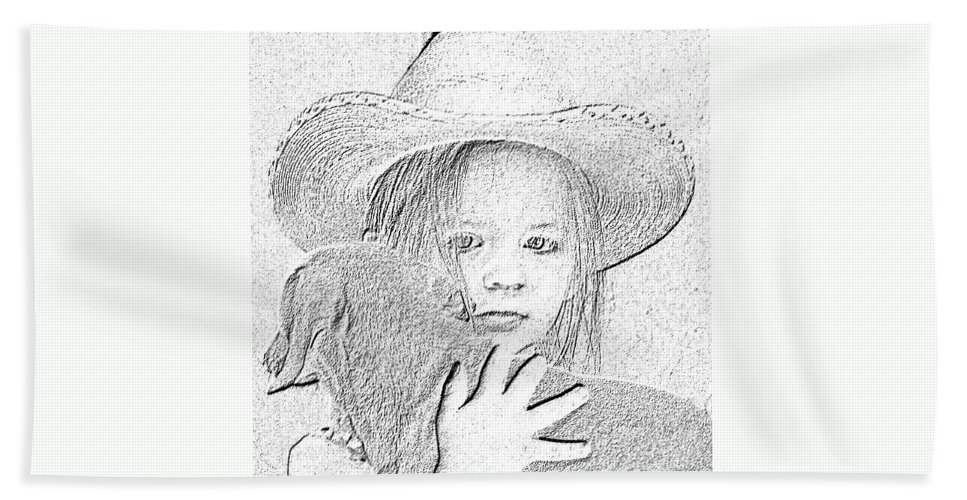 Young Beach Towel featuring the digital art Girl With Dog by Amber Stubbs