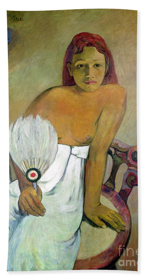 Girl With Fan Beach Towel featuring the painting Girl With Fan by Paul Gauguin