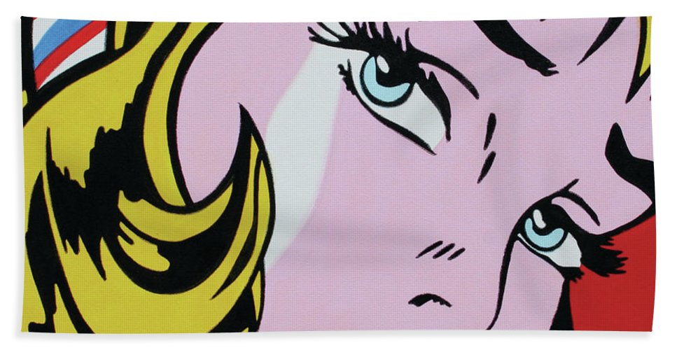 Ludzska Beach Towel featuring the painting Girl With Ribbon by Luis Ludzska
