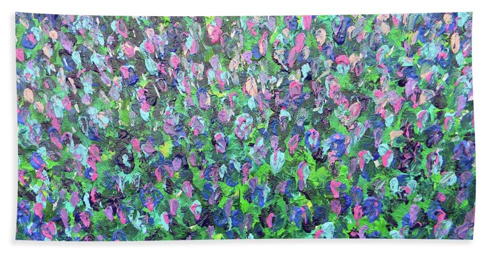 Marwan George Khoury Beach Towel featuring the painting Gisement De Lavande by Marwan George Khoury
