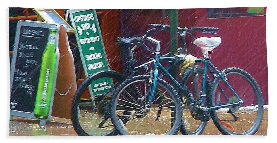Bike Beach Towel featuring the photograph Give Me Shelter by Debbi Granruth