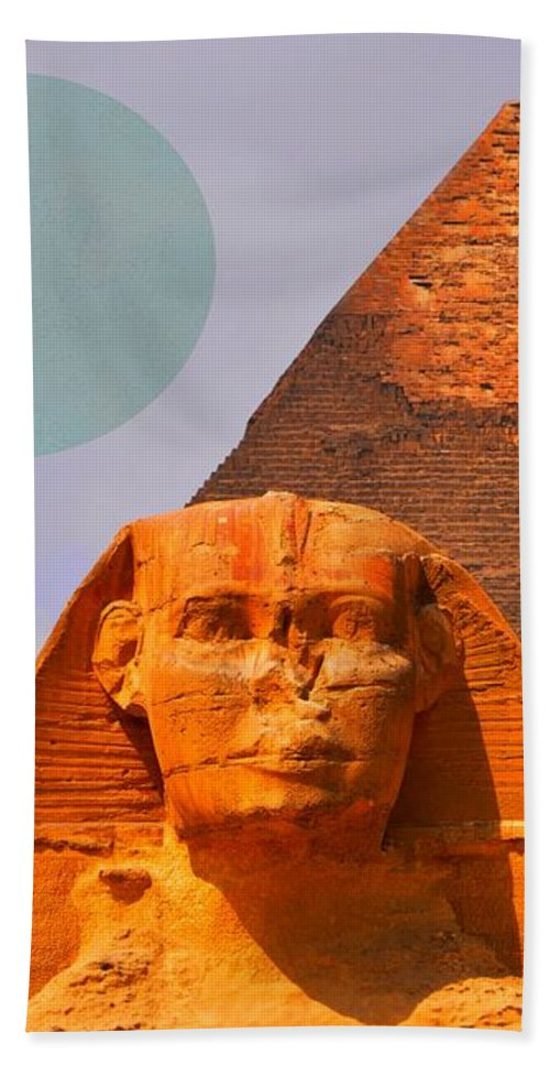 The Great Sphinx Of Giza Beach Towel featuring the mixed media Giza Sphinx 2 by Otis Porritt