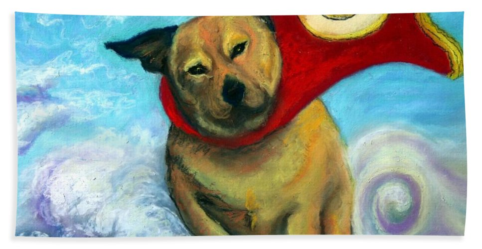 Dog Beach Towel featuring the painting Gizmo The Great by Minaz Jantz