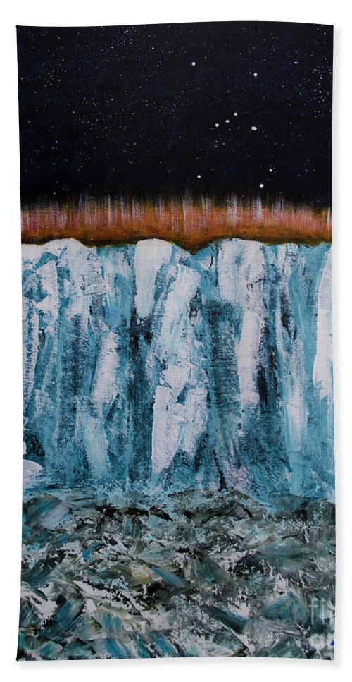 Ice Beach Towel featuring the painting Glacier by Goran Nilsson