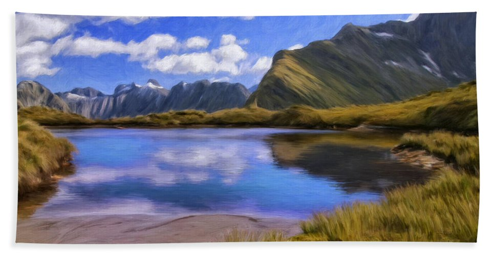 Milford Track Beach Towel featuring the painting Glacier Lake On The Milford Track by Dominic Piperata