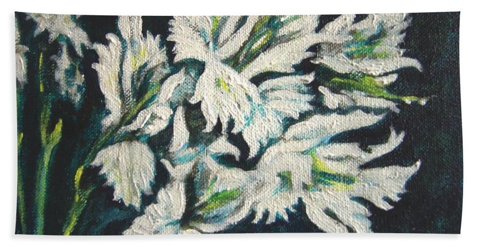 Gladioli Beach Towel featuring the painting Gladioli by Usha Shantharam