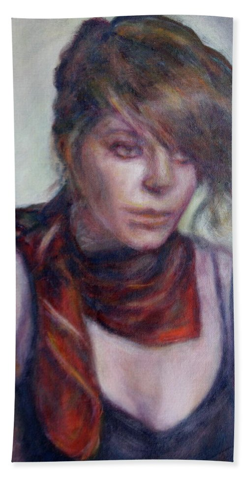 Portrait Beach Towel featuring the painting Modern Glamour - Sale On Original Painting by Quin Sweetman