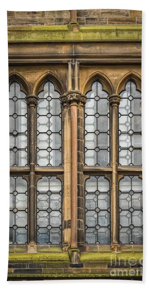 Window Beach Towel featuring the photograph Glasgow Unversity Window by Antony McAulay