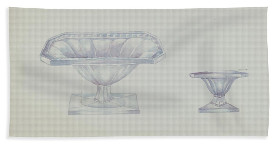 Beach Towel featuring the drawing Glass Nut Dishes by Beulah Bradleigh