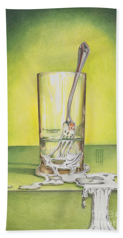 Bizarre Beach Towel featuring the painting Glass With Melting Fork by Melissa A Benson