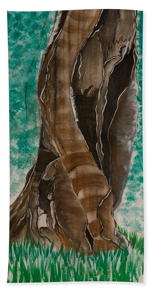 Tree Beach Towel featuring the painting Glazing Veins by Pushpak Chattopadhyay