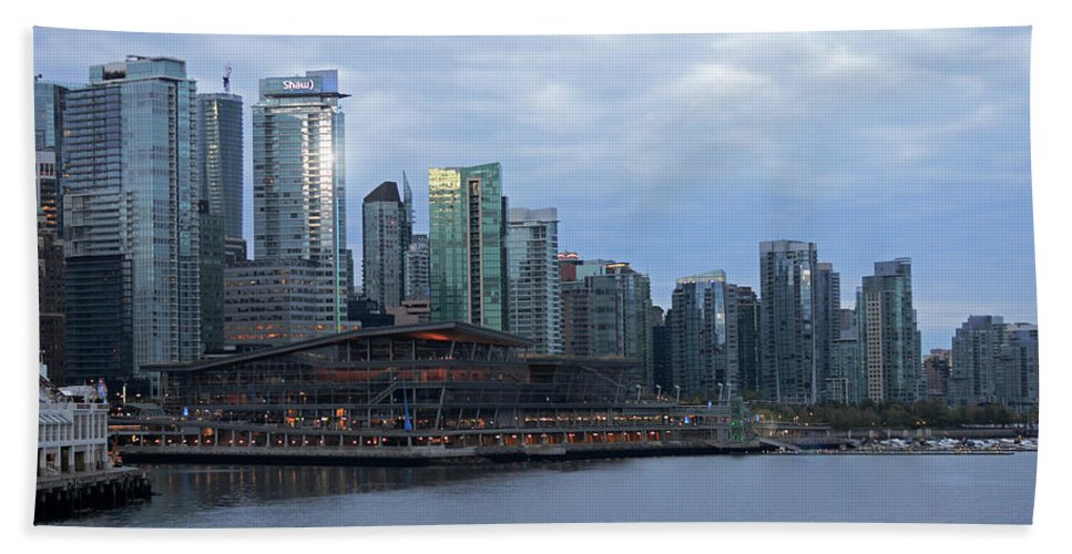 Cityscape Beach Towel featuring the photograph Gleaming Cityscape. Vancouver At Dawn by Connie Fox