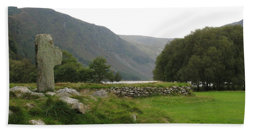 Glendalough Beach Towel featuring the photograph Glendalough by Kelly Mezzapelle
