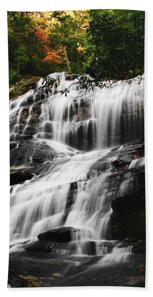 Water Waterfall Stream Creek Photography Photograph Nature Landscape North Carolina Glenn Falls Digital Art Flowing Beach Towel featuring the photograph Glenn Falls - Nc by Shari Jardina