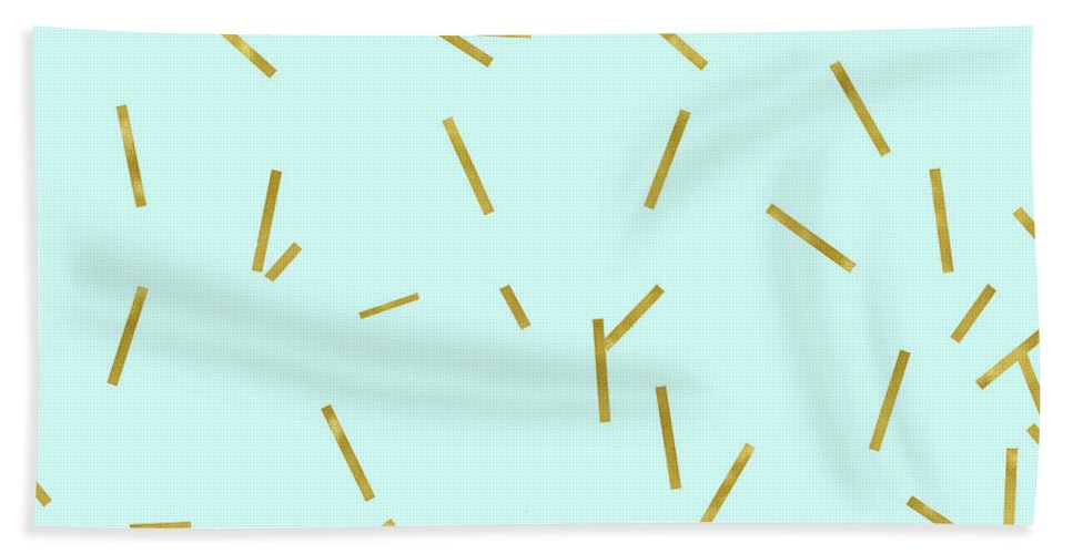 Stix Beach Towel featuring the digital art Glitter confetti on aqua gold pick up sticks pattern by Tina Lavoie
