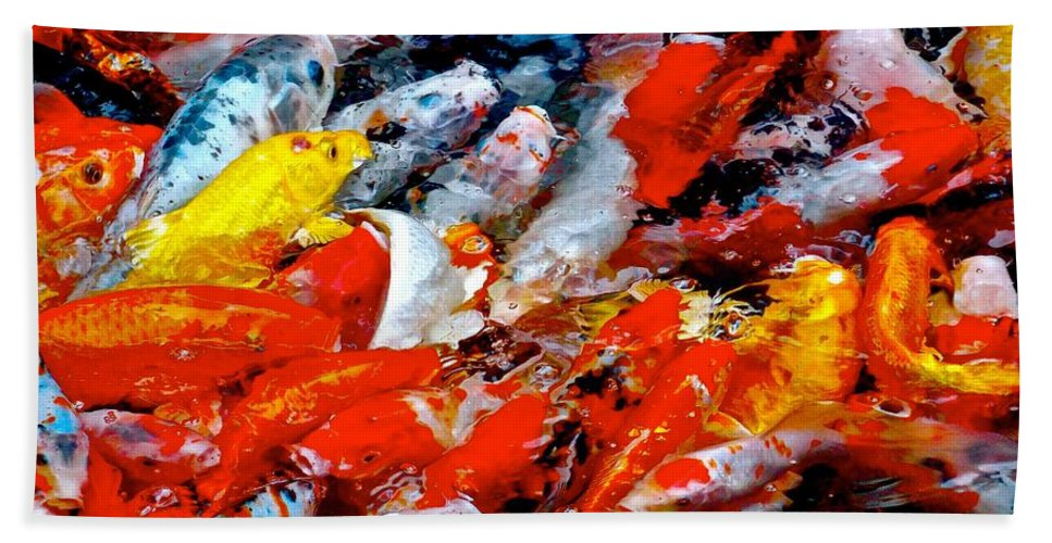 Koi Beach Towel featuring the photograph Glittering Of Koi by Tim G Ross