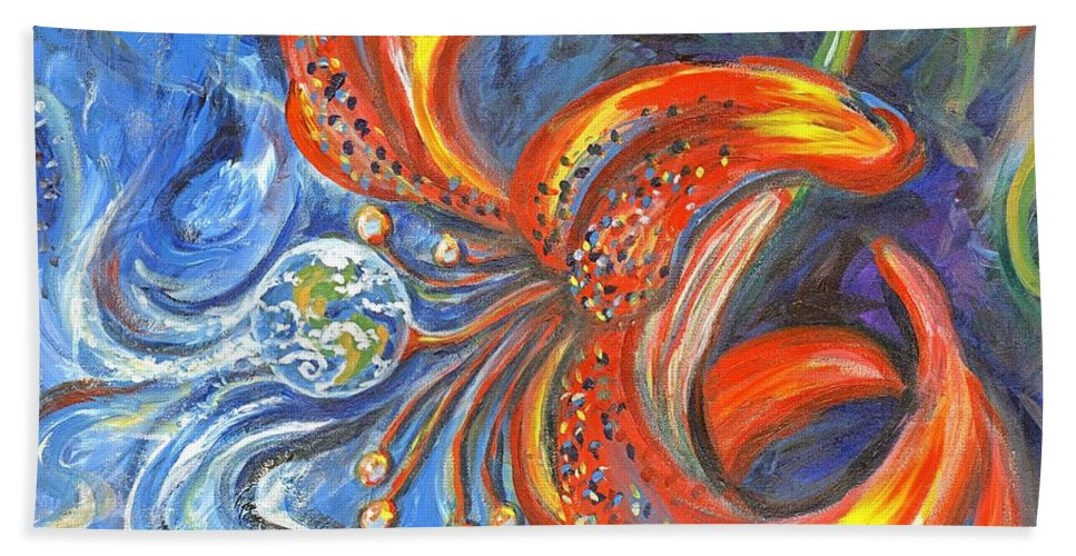 Flower Beach Towel featuring the painting Global Lily by Linda Mears