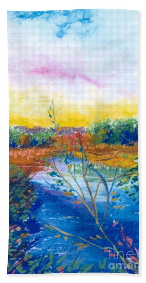 Warm Day Beach Towel featuring the painting Glorious Day by Sandy Sereno
