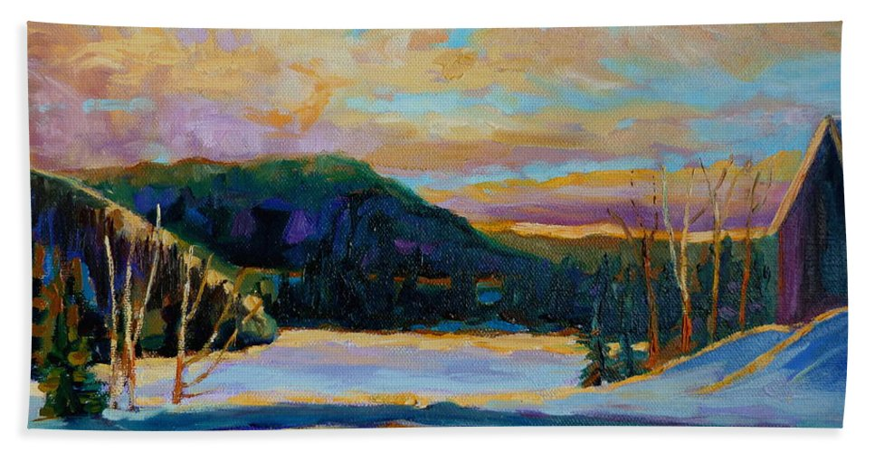 Vermont Beach Towel featuring the painting Glorious Winter Sunrise by Carole Spandau