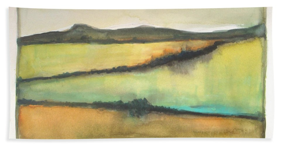 Landscape Beach Towel featuring the painting Glow Of The Prairie by Vesna Antic