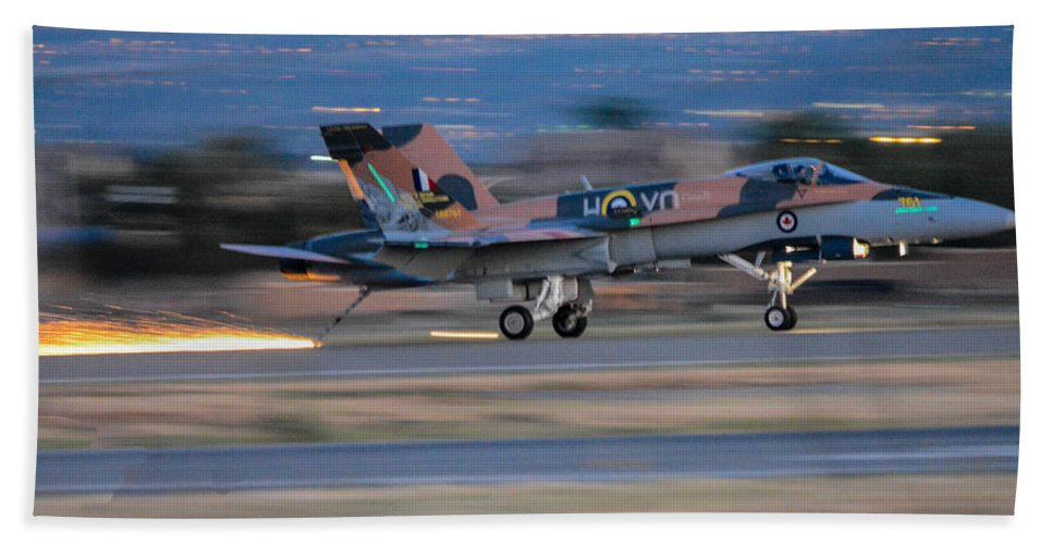 Royal Canadian Air Forces Beach Towel featuring the photograph Glowing Hornet by Tommy Anderson