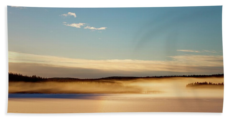 Lake Beach Towel featuring the photograph Glowing Mists Are Rising From A Frozen Lake by Ulrich Kunst And Bettina Scheidulin