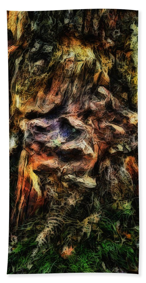 Tree Trunk Beach Towel featuring the digital art Gnarled by Leigh Kemp