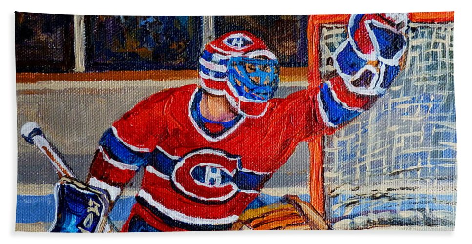 Hockey Beach Towel featuring the painting Goalie Makes The Save Stanley Cup Playoffs by Carole Spandau