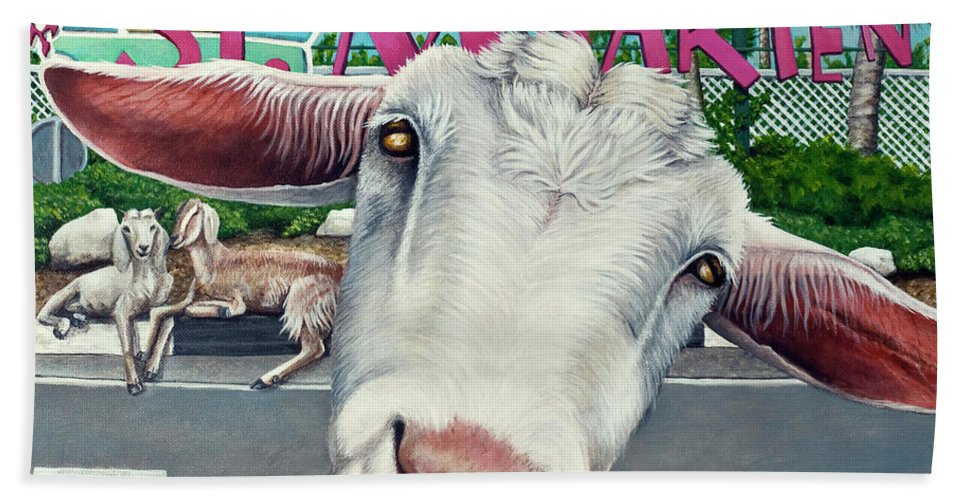 Goat Beach Towel featuring the painting Goats Of St. Maarten- Sofie by Cindy D Chinn