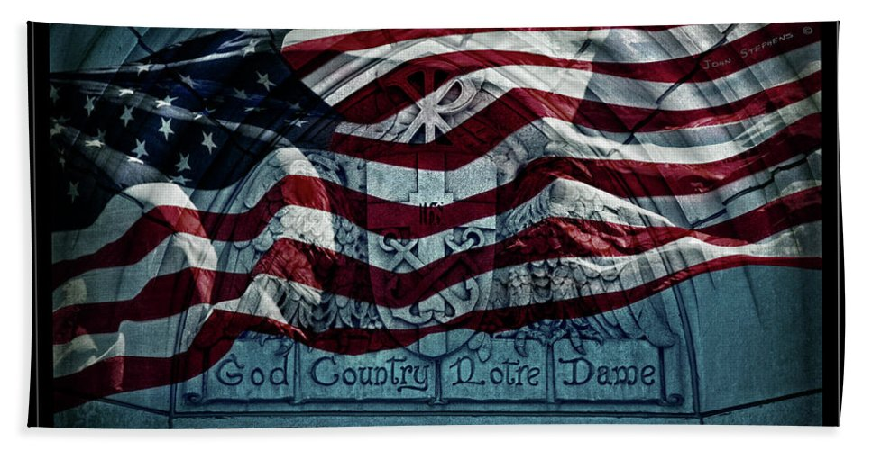 Notre Dame Beach Towel featuring the photograph God Country Notre Dame American Flag by John Stephens