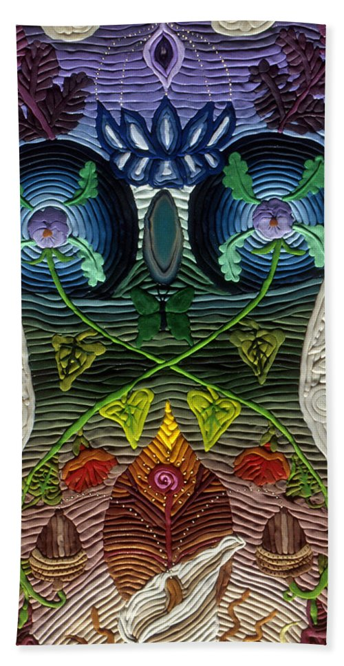 Body Art Beach Towel featuring the relief Godbody by Arla Patch